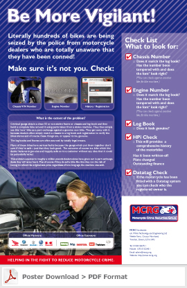 motorcycle crime reduction poster
