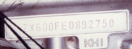 ZX600 Genuine Engine Number
